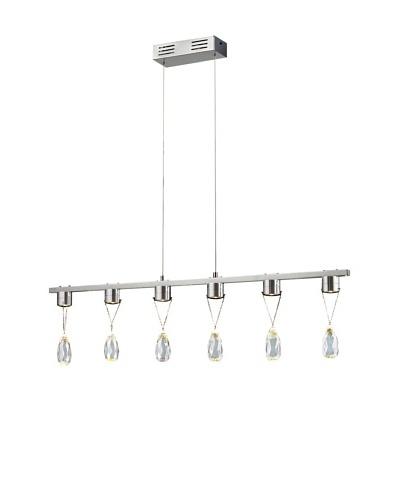 Bel Air Lighting Bejeweled 6-Crystal LED Drop Pendant, Polished Chrome