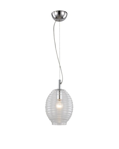 """Bel Air Lighting Bee Hive 8"""" Drop Pendant, Clear/Polished Chrome"""