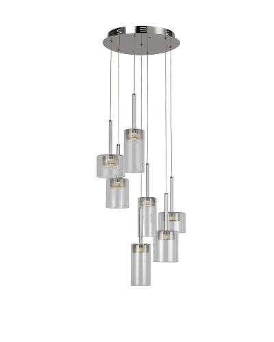 Bel Air Lighting LED Spot 7-Light Spiral-Drop-Pendant, Polished Chrome