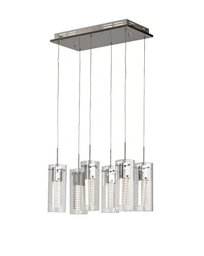 Bel Air Lighting Etched LED Cube 6-Pendant Light, Polished Chrome