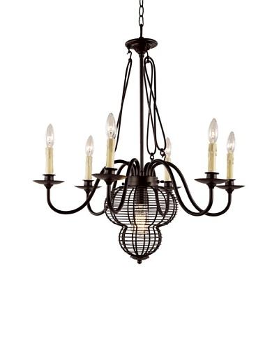 Bel Air Lighting French Basket Black 7-Light Chandelier