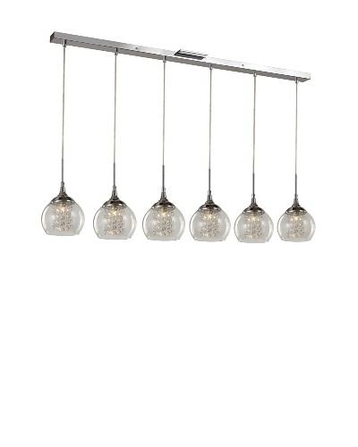 Bel Air Lighting Glass Bowl 6-Drop Pendant Track, Polished Chrome