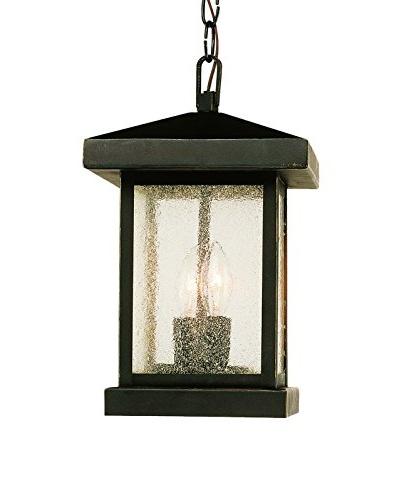 Bel Air Lighting 2-Light Hanging Lantern, Weather Bronze