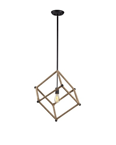 Bel Air Lighting Hemp Rope Black Cube Pendant Light