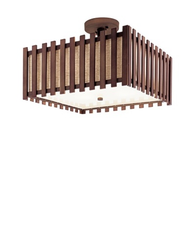 Bel Air Lighting 16 Walnut Square Semi Flush-Mount Light