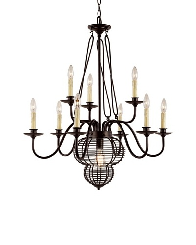 Bel Air Lighting French Basket Black 10-Light Chandelier
