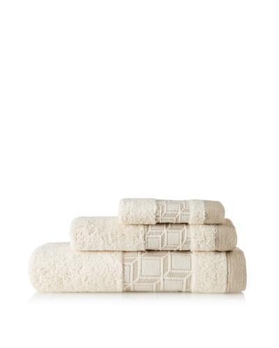 Belle Époque Blocks 3-Piece Towel Set, Linen/Ecru