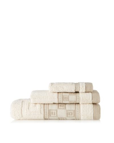 Belle Époque Ecru Squares 3-Piece Towel Set, Linen/Ecru