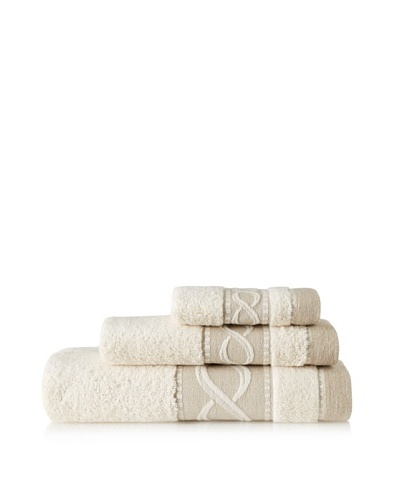 Belle Époque Linen Waves 3-Piece Towel Set, Linen/Ecru