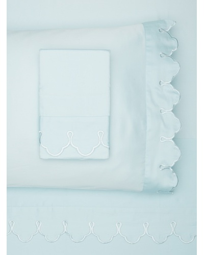 Belle Epoque Scalloped Embroidered Sheet Set [Blue]