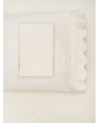 Belle Epoque Scalloped Embroidered Sheet Set [Cream]
