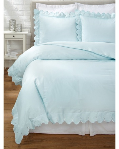 Belle Epoque Scalloped Embroidered Duvet Cover Set [Blue]