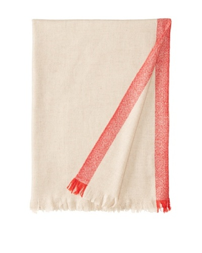 Belle Epoque Bordered Cashmere Throw, Beige/Red, 50 x 70