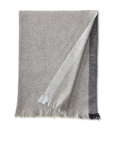 "Belle Epoque Bordered Cashmere Throw, Grey/Navy, 50"" x 70"""