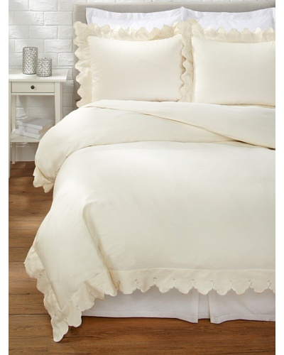 Belle Epoque Scalloped Embroidered Duvet Cover Set [Cream]