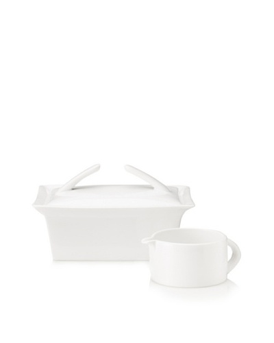 BergHOFF 3-Piece Butter Dish and Gravy/Sauce Boat Set, White