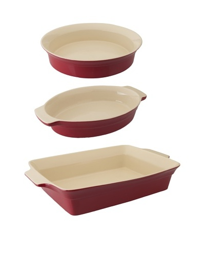 BergHOFF Geminis 3-Piece Basic Bakeware Set, Red/Ivory