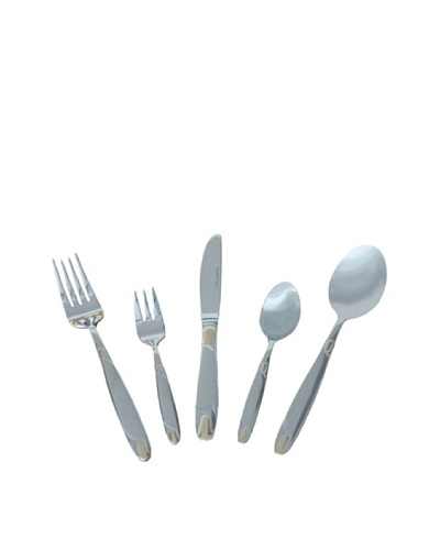 BergHOFF 30-Piece Straight Flatware Set, Silver/Gold