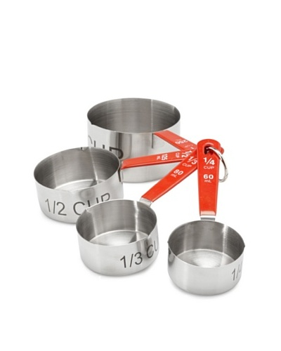 BergHOFF 4-Piece Stainless Steel Measuring Cup Set, Silver/Red