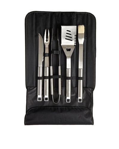 BergHOFF 6-Piece Cubo BBQ Set in Travel Wrap, Silver/Black