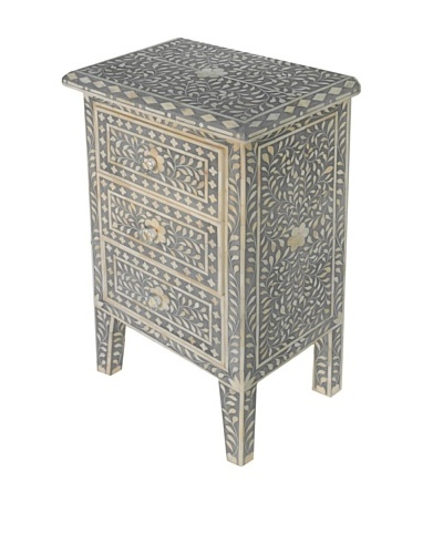 Bethel Bone Inlay 3-Drawer Nightstand, Grey