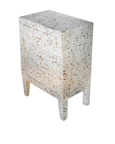 Bethel Bone Inlay 3-Drawer Bed Side Table, White