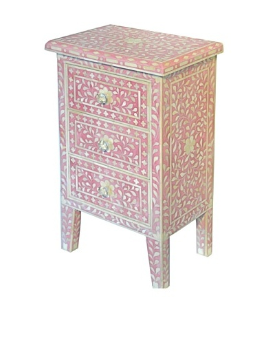 Bethel Bone Inlay 3-Drawer Nightstand, Pink