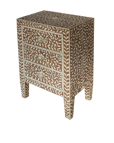 Bethel Bone Inlay 3-Drawer Bed Side Table, Brown
