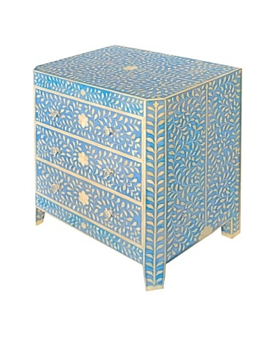 Bethel Bone Inlay 3-Drawer Chest, Blue