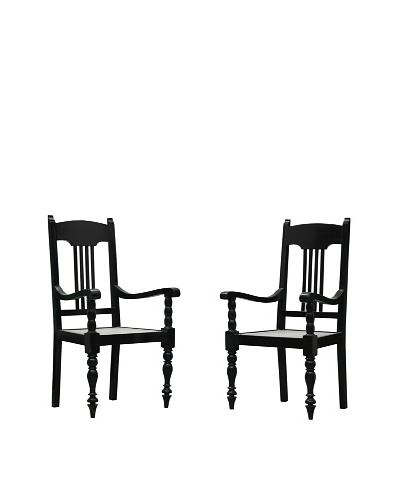 Better Living Set of 2 Vintage Masterji Chairs, Dark Walnut