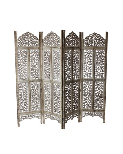 Better Living Hand Carved Daawat Screen, Patina White