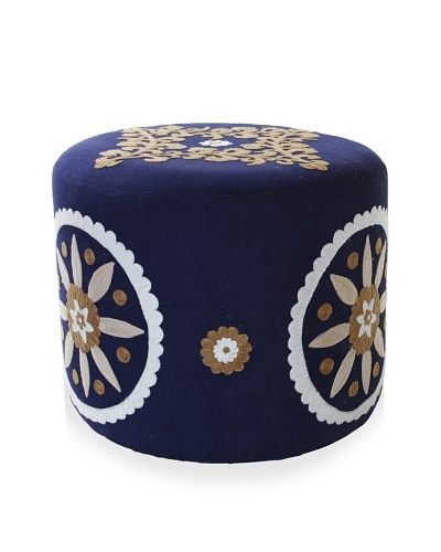 Better Living Collection Dahlia Round Ottoman [Indigo/Tan]