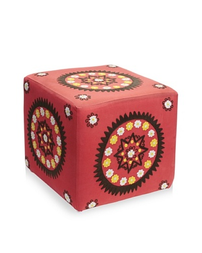 Better Living Collection Medallion Square Ottoman [Brick]