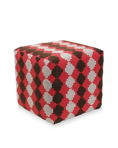 Better Living Collection Checkerboard Suzani Square Ottoman [Brick]