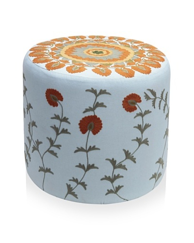 Better Living Collection Moonriver Round Ottoman [Cloud/Brick]