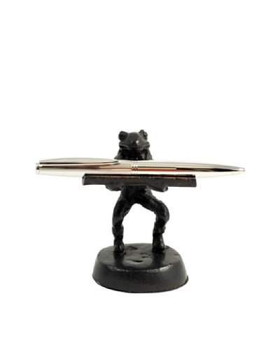 Bey-Berk Cast Metal Frog Pen Holder