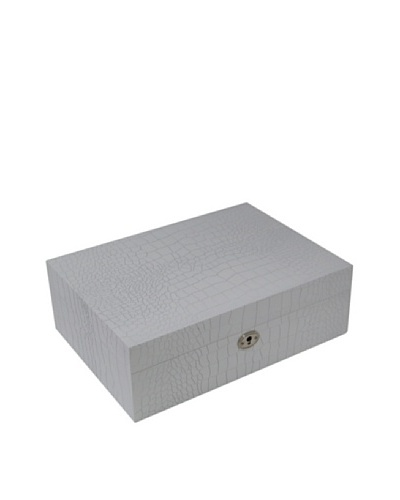Bey-Berk Croc-Embossed Wood Jewelry Box, White