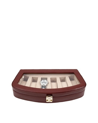 Bey-Berk 6-Watch Leather Case with Glass Top & Locking Clasp, Brown