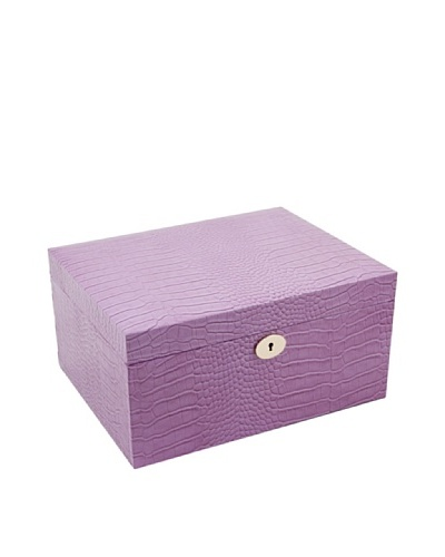 Bey-Berk Croc-Embossed Leather Jewelry Box, Pink