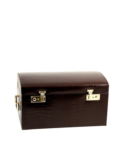 Bey-Berk Stamped Croc Leather Jewelry Chest, Brown