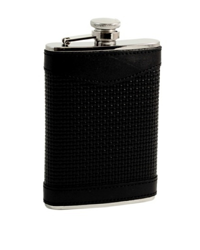 Bey-Berk Woven Leather Stainless Steel Flask, 8 Oz.