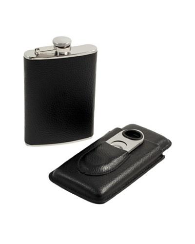 Bey-Berk 3-Piece Flask, Cigar Case & Cutter Leather Gift Set, Black