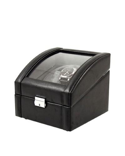 Bey-Berk Leather 2-Watch Winder, Black