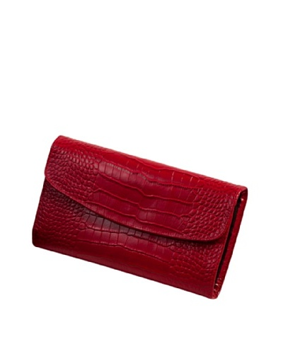 Leather Travel Jewelry Clutch, Red