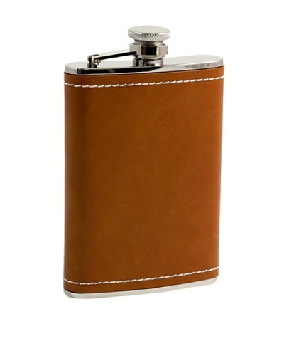 Bey-Berk Saddle Brown Leather Stainless Steel Flask, 8 Oz.
