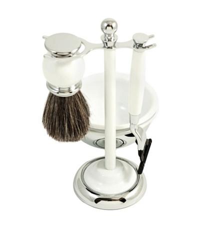 Bey-Berk Chrome & Enamel Finished Razor, Brush & Soap Dish Shaving Set