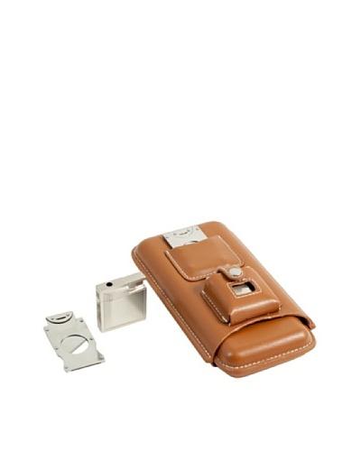Bey-Berk 3-Cigar Leather Holder with Cutter & Lighter, Brown