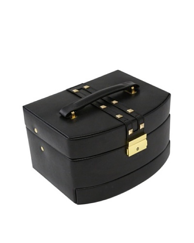 Bey-Berk 4-Level Studded Leather Jewelry Box, Black