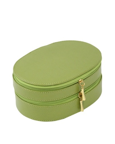 Bey-Berk Reptile-Embossed Leather 2-Level Jewelry Case, Lime