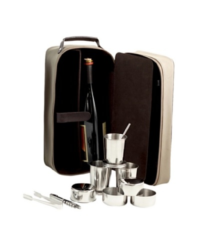 Bey-Berk 7-Piece Travel Bar Set with Ultra Suede & Leather Case, Brown